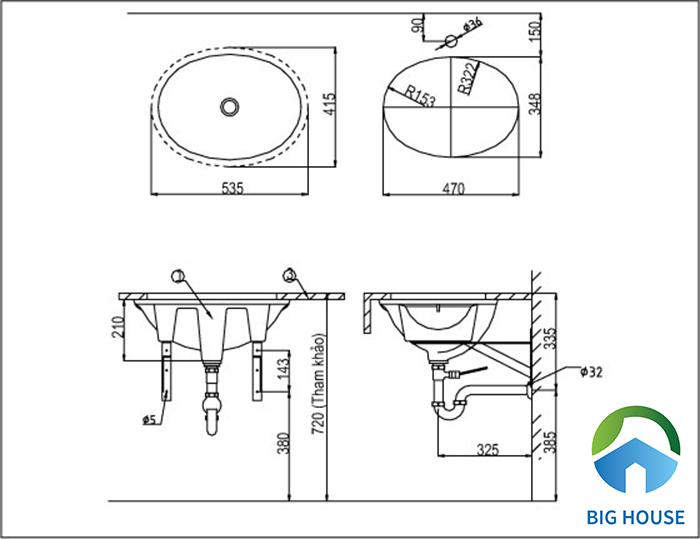 Bản vẽ kỹ thuật chậu rửa lavabo âm bàn Inax L-2293V