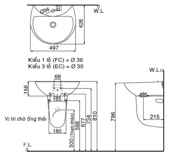 Bản vẽ kỹ thuật sản phẩm lavabo Inax 285 treo tường