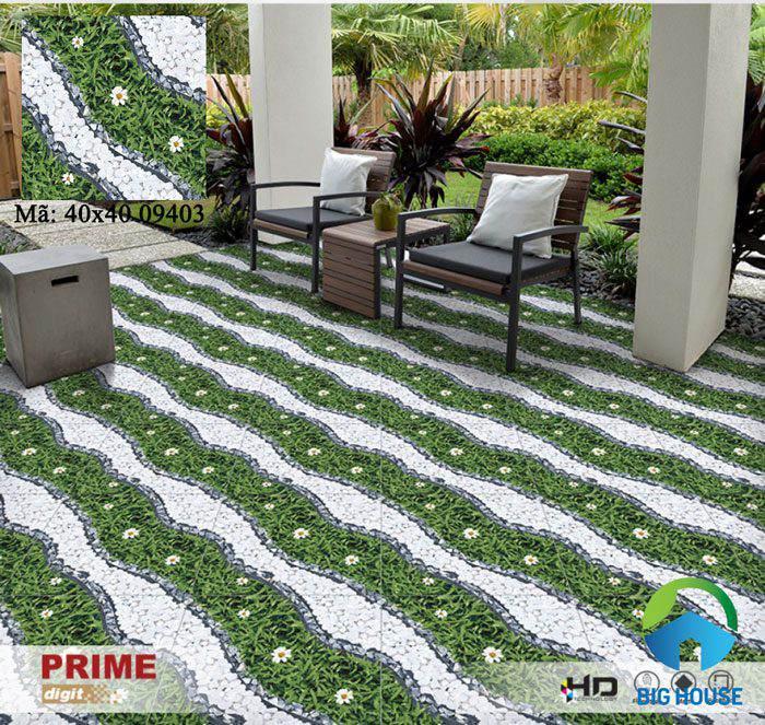 Gạch Prime 40x40 09403 họa tiết hoa cỏ như khu vườn nhỏ trong không gian nhà mình