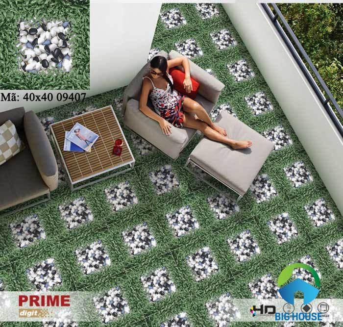 Gạch cỏ lát sân Prime 40x40 09407 là mẫu gạch thông dụng, ưa chuộng