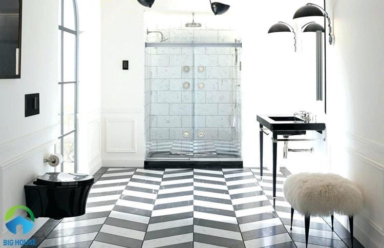 gạch lát nền màu đen trắng 5