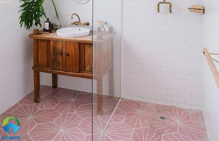 gạch lát nền màu hồng 12