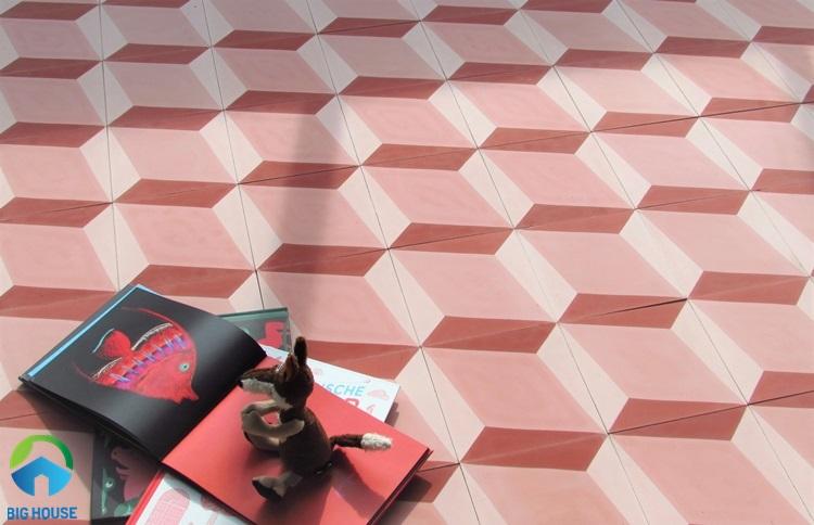 gạch lát nền màu hồng 16