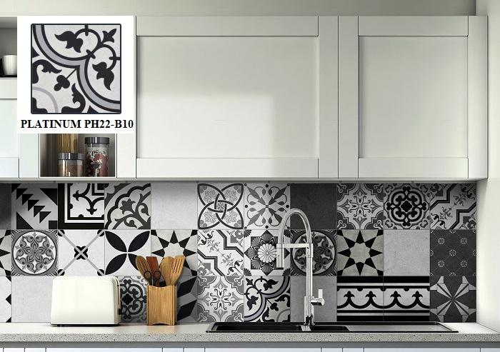 Gạch bông ốp bếp gam màu đen trắng Viglacera PLATINUM PH22-B10