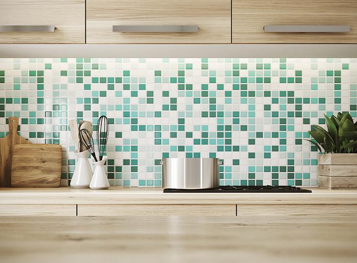 Gạch mosaic ốp tương phòng bếp gam màu xanh trắng mang lại không gian thoải mái và cảm giác dễ chịu