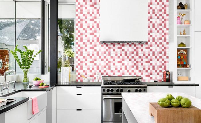 Vỉ gạch mosaic Đồng Tâm màu trắng hồn nhẹ nhàng, giúp không gian có thêm sự dịu dàng, thoải mái