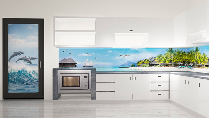 Mẫu tranh gạch này là lựa chọn phù hợp cho những căn bếp thiết kế theo phong cách hiện đại.