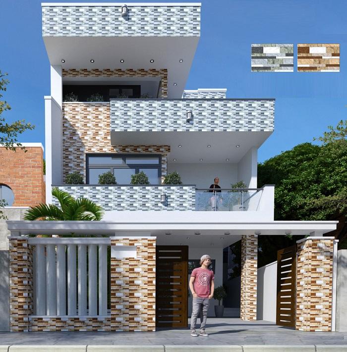 Sử dụng gạch ốp mặt tiền nhà giúp tăng tính thẩm mỹ
