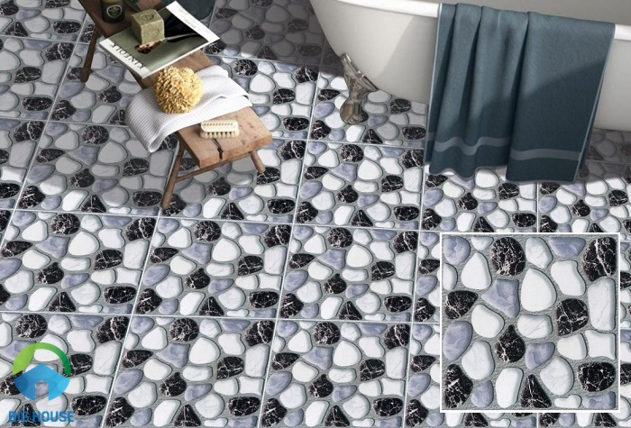 Mẫu gạch lát phòng tắm Hacera SVG301 sở hữu họa tiết sỏi xám, trắng, đen vân đá marble