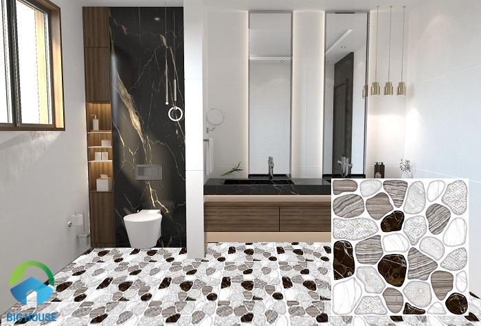 Mẫu gạch sỏi lát nền nhà tắm Prime 06.300300.09169 kích thước 300x300 mm phù hợp với phòng tắm có diện tích nhỏ