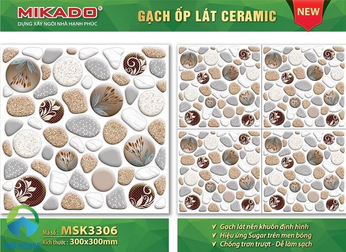 Mẫu gạch Mikado MSK 3306 giả sỏi họa tiết granite lấp lánh mang đến vẻ đẹp tự nhiên