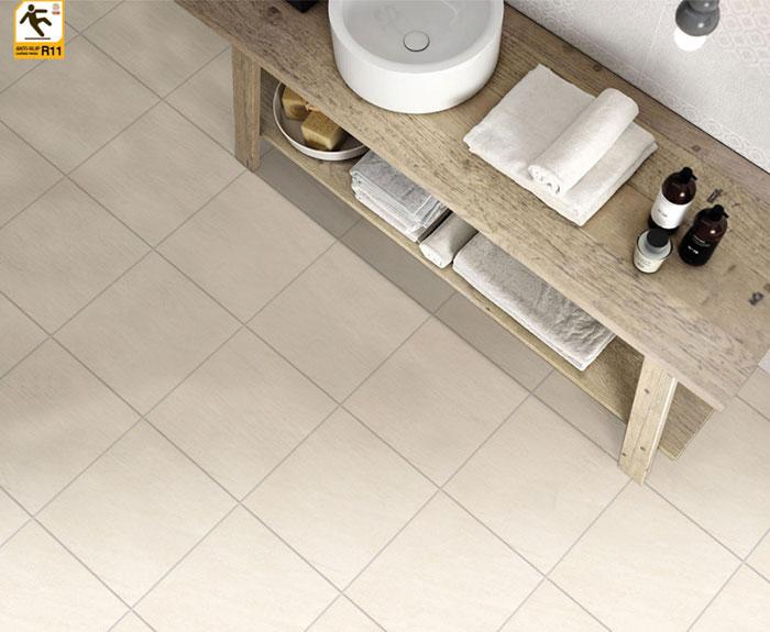 Phối cảnh nhà tắm lát nền bằng mẫu gạch Prime 06.300300.09164