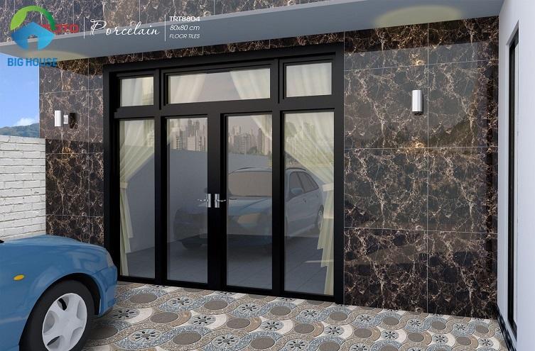 TRT8804 là mẫu gạch đá ốp mặt tiền nhà màu nâu marble vân mạng nhện