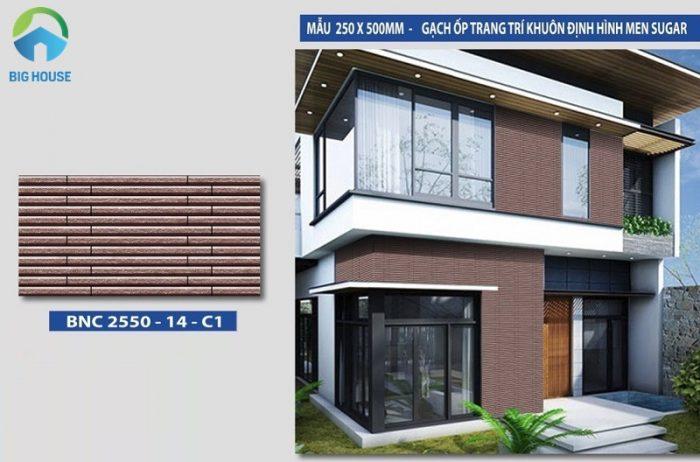 Gạch thẻ màu nâu BNC 2550-14-C1 là mẫu gạch ốp tường trang trí khuôn định hình