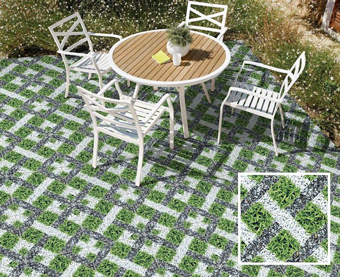 Sự kết hợp giữa họa tiết sỏi trắng - đá cuội xám - cỏ xanh mang đến cho Prime 14.400400.09401