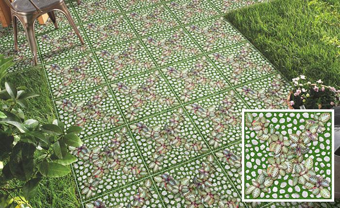 Mã gạch 4040GREENERY004 có họa tiết giả cỏ xanh ấn tượng
