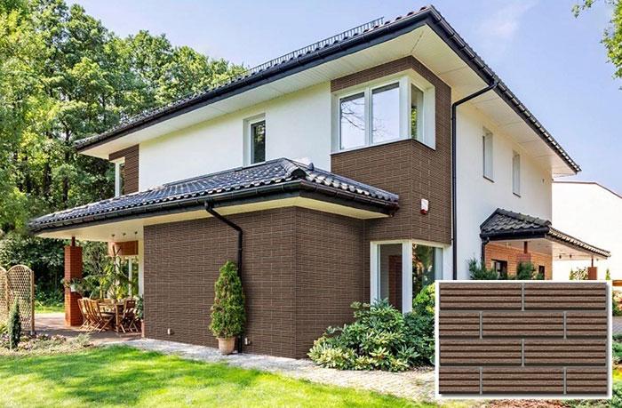 Mặt tiền ngôi nhà ốp tường nâu cùng với sơn ngoại thất mang phong cách kiến trúc Nhật Bản