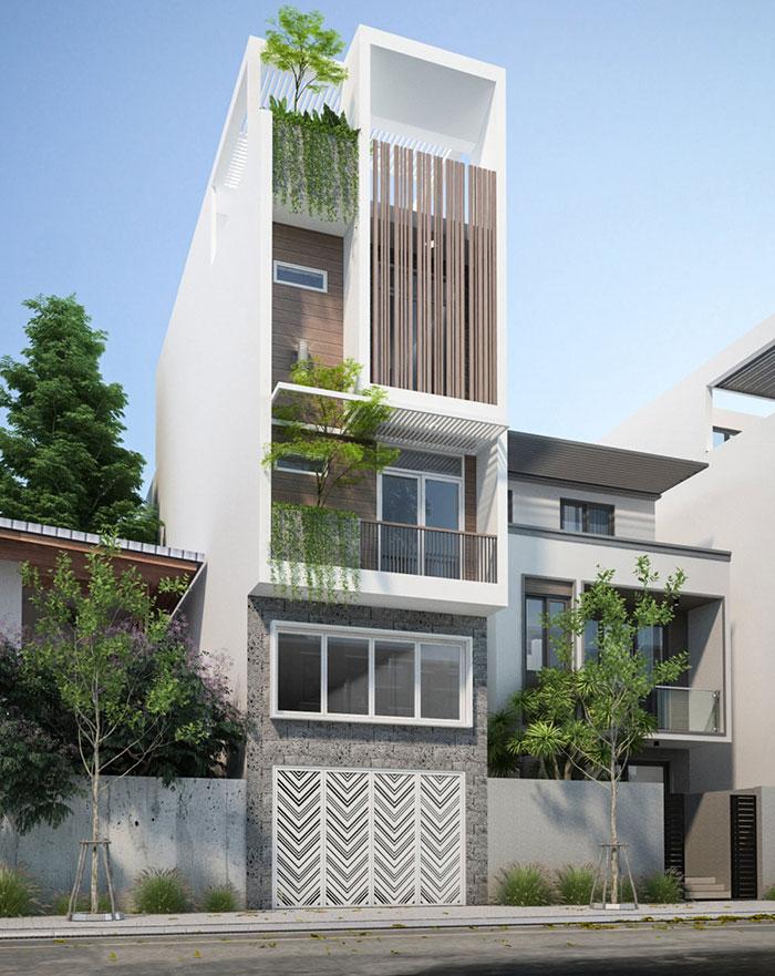 Cách dùng gạch ốp tường giả đá ong cùng gạch giả gỗ nâu cho mặt tiền nhà phố thêm nổi bật, cá tính