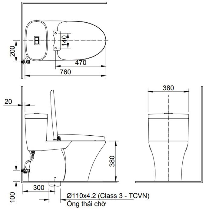 Bản vẽ kỹ thuật bồn cầu 1 khối Inax AC-959VAN