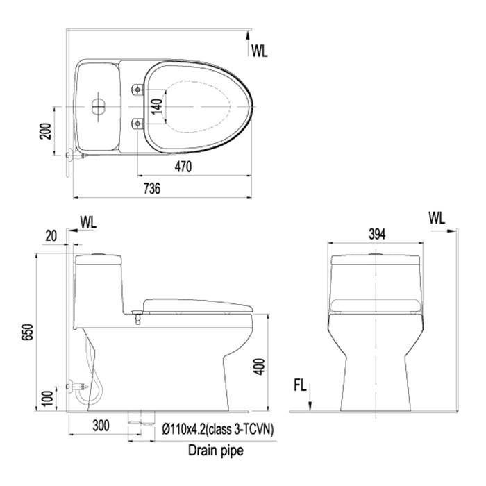 Bản vẽ kỹ thuật bồn cầu Inax AC 939VN