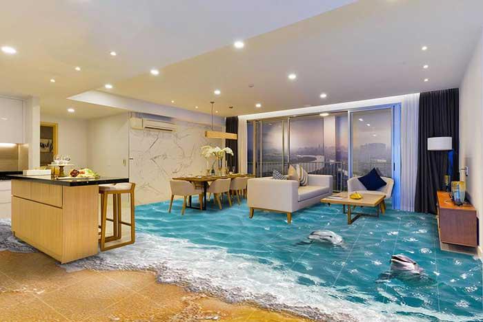 gạch lát nền 3d phòng khách biển cả
