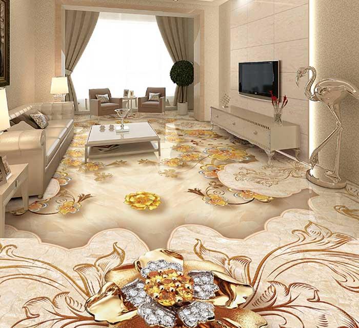 Với mẫu gạch lát nền dạng thảm ngọc, không gian thiết kế trông thật sang trọng, đẳng cấp. Nếu phòng khách nhà bạn thiết kế theo phong cách Đương đại thì đây chính là lựa chọn phù hợp.