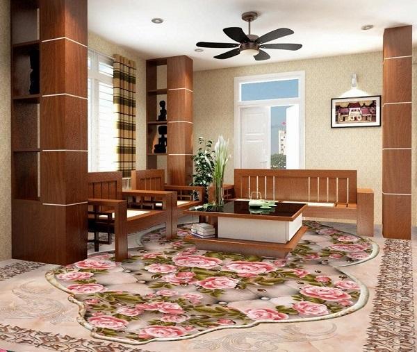 Mẫu gạch lát nền họa tiết hoa hồng giúp tăng thêm tính nghệ thuật cho phòng khách cổ điển. Không gian phòng khách vẫn giữ được vẻ đẹp sang trọng, đẳng cấp mà vẫn rất hiện đại.