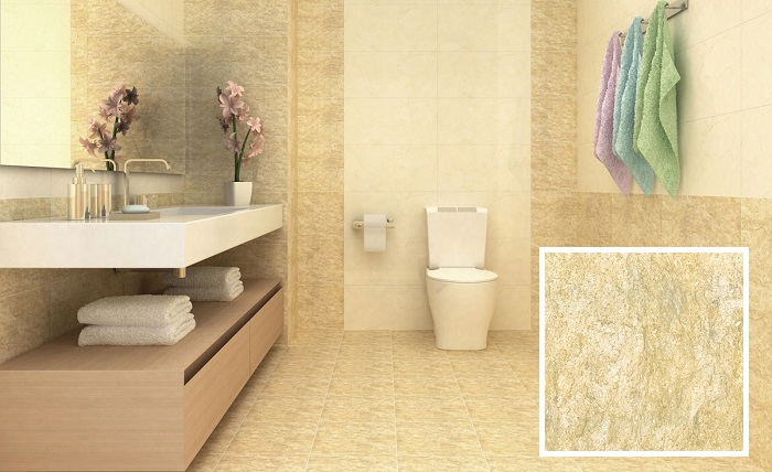 Không gian phòng tắm đẹp nhẹ nhàng, thanh lịch với mẫu gạch lát nền 3030FOSSIL001LA