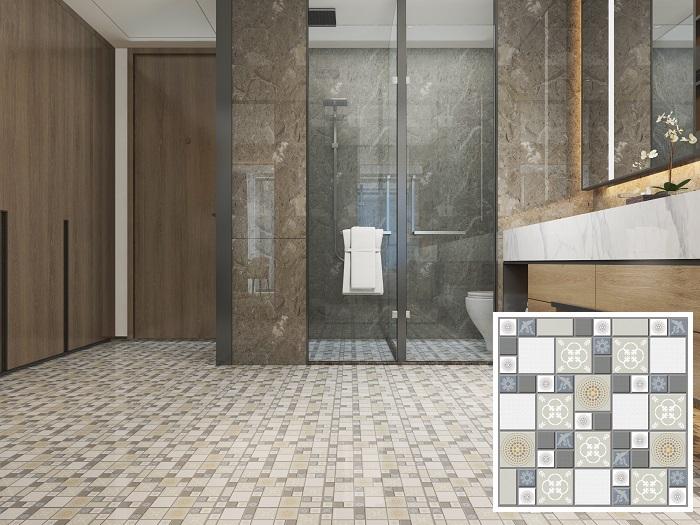 Với họa tiết ô vuông độc đáo, mẫu gạch 300x300 lát sàn GF 324 của Viglacera cho phòng tắm đẹp ấn tượng