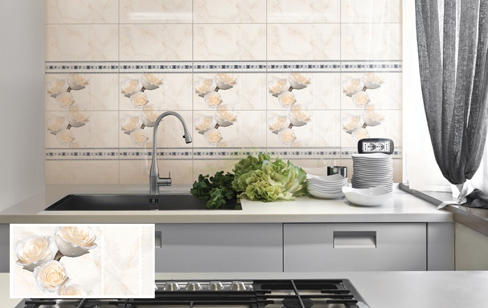 Mẫu cao cấp D3060 ROXY 004 màu kem họa tiết hoa hồng cho gian bếp đẹp tinh tế, thanh lịch