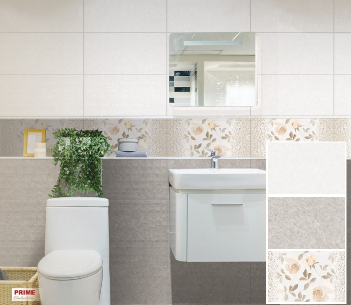 Không gian nhà tắm đẹp thanh lịch, tinh tế với bộ gạch ốp Prime 05.300600.08634, 33, 32