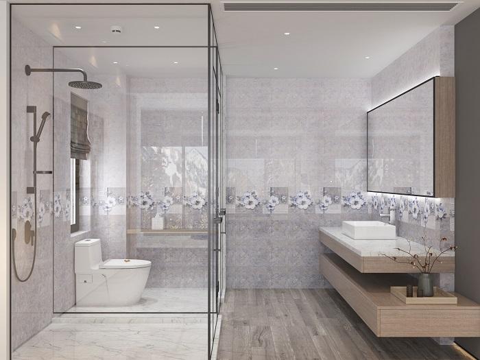 Bộ gạch ốp tường nhà vệ sinh Viglacera tông màu ghi xám trung tính sở hữu vẻ đẹp hiện đại
