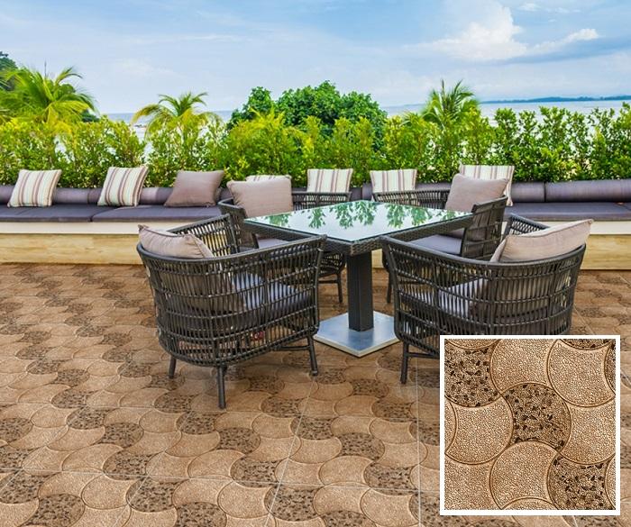 Không gian sân thượng đẹp cổ điển với mẫu gạch lát nền Prime 13.500500.09395 họa tiết giả đá