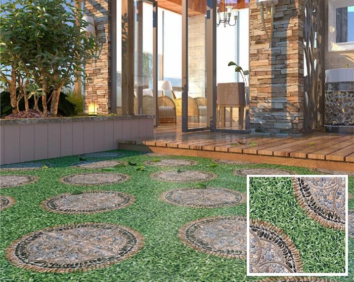 Mẫu Prime 400x400 01.400400.09216 họa tiết giả cỏ rất phù hợp để lát nền sân vườn