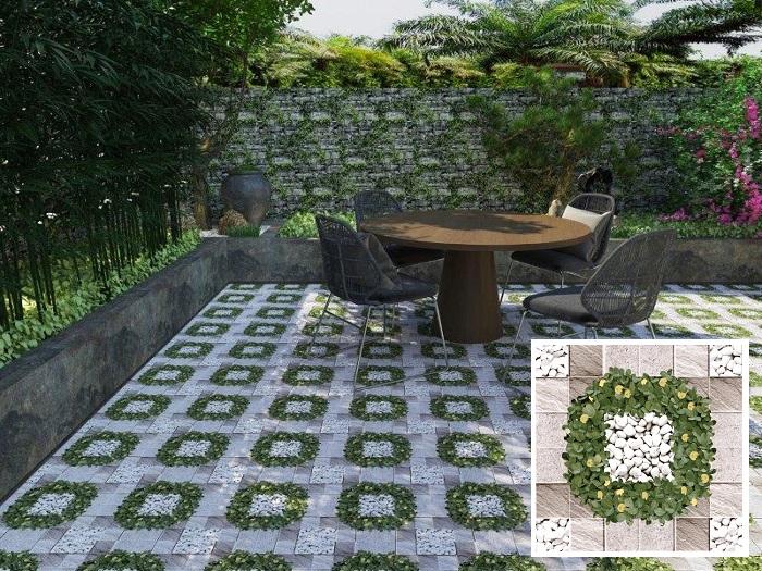 Mẫu Viglacera SG404 họa tiết giả cỏ kết hợp với đá tạo cảm giác gần gũi với thiên nhiên