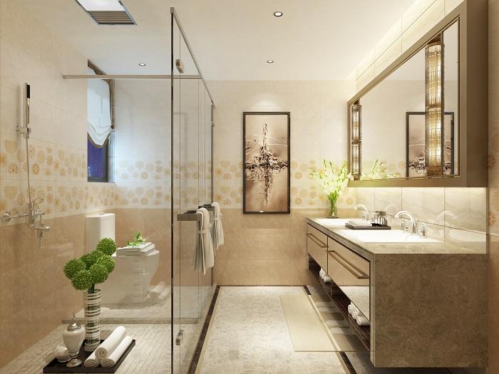 Không gian phòng tắm đẹp sang trọng nhờ tông màu vàng kem ấm áp của mẫu gạch ốp tường Vigalcera