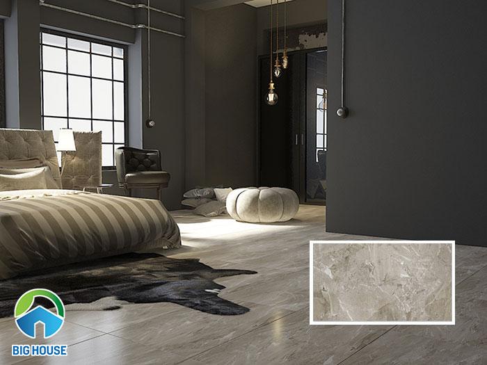 Gạch có tone màu xám, thích hợp với những phòng ngủ trang trí tone màu tối.