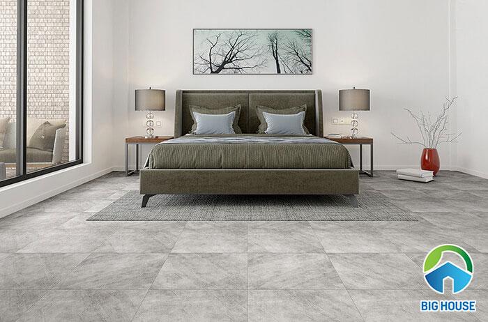 Mẫu gạch kích thước vuông 40x40cm cũng được ứng dụng trong khu vực phòng ngủ