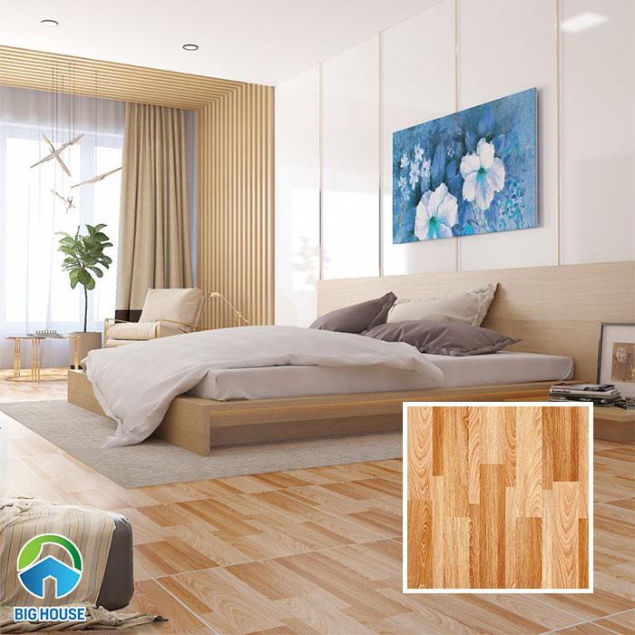 Mẫu gạch vân gỗ màu nâu vàng 09672, bề mặt nhám được sử dụng trong phòng ngủ. Gạch với ý tưởng thiết kế như những thanh gỗ ghép lại, màu sắc đậm - nhạt rất ấn tượng.