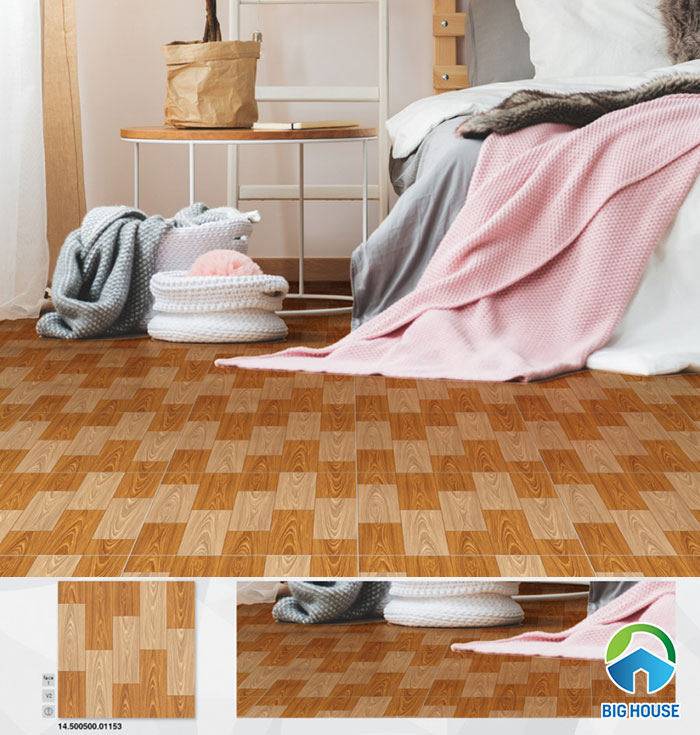 Gạch vân gỗ kích thước 50x50cm 01153. Gạch có họa tiết là những thanh gỗ có màu đậm - nhạt ghép lại theo quy luật.