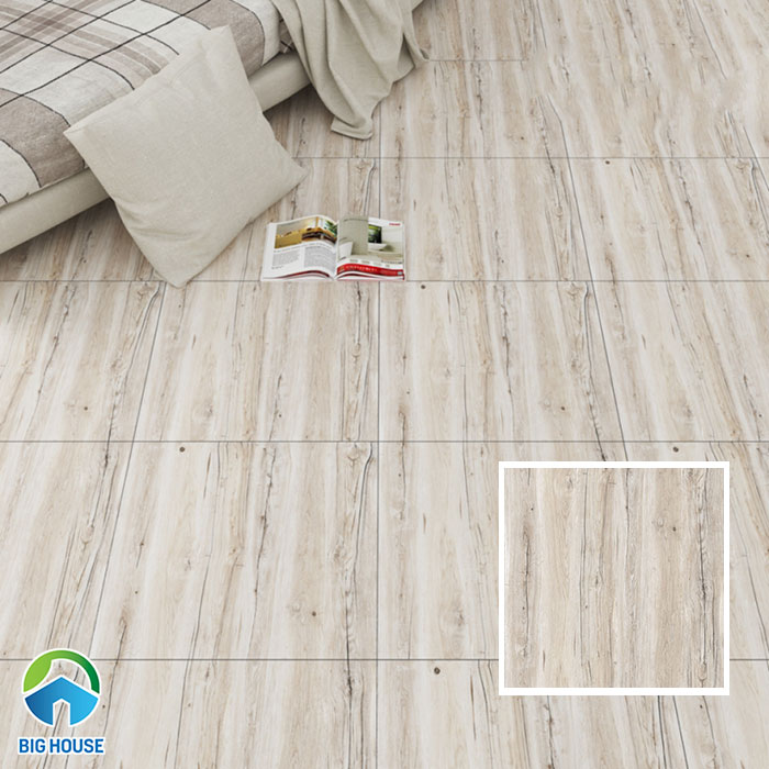 Phòng ngủ sang trọng hơn, độc đáo hơn với mẫu gạch vân gỗ màu xám trắng 12010 lát nền nhà. Gạch có kích thước 60x60cm, bề mặt nhẵn bóng.