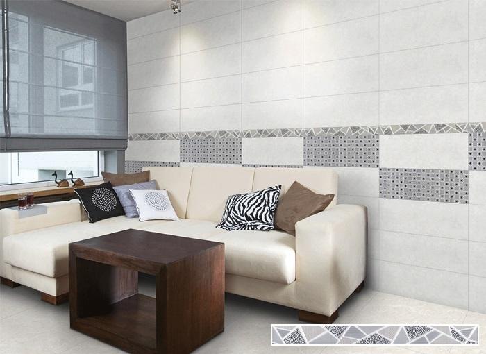 Mẫu gạch men viền trang trí KYHA001 của Đồng Tâm màu ghi xám cho phòng khách đẹp hiện đại