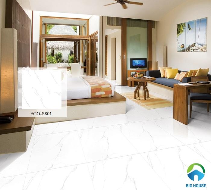 Mẫu gạch lát nền tông màu trắng vân đá ECO-S801 của Viglacera tạo nên nét sang trọng cho phòng khách