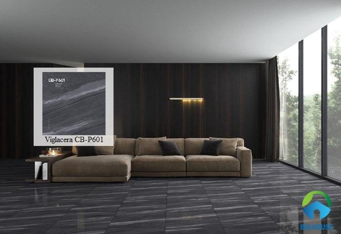 Gạch lát nền Viglacera 60x60 với thiết kế vân đá màu đen rất sang trọng, đẳng cấp