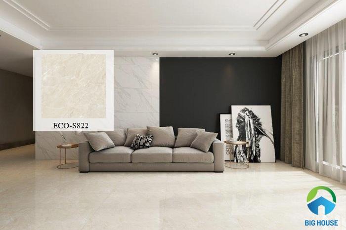 Đơn giản, tinh tế mà không hề đơn điệu, gạch Viglacera ECO-S822 đang được nhiều người lựa chọn cho phòng khách
