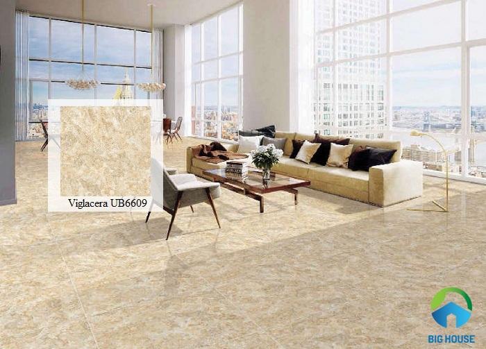Gạch lát phòng khách Viglacera với gam màu vàng đất sang trọng và dễ ứng dụng