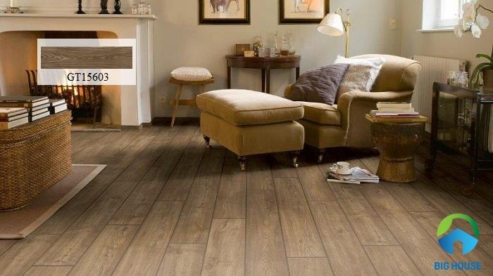 Gạch lát giả gỗ Viglacera GT15603 mang lại vẻ đẹp ấn tượng, độc đáo cho phòng khách