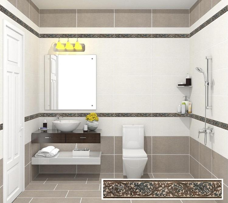 M6902 là mẫu gạch ốp viền điểm Viglacera có họa tiết cổ điển, rất hợp với không gian phòng tắm