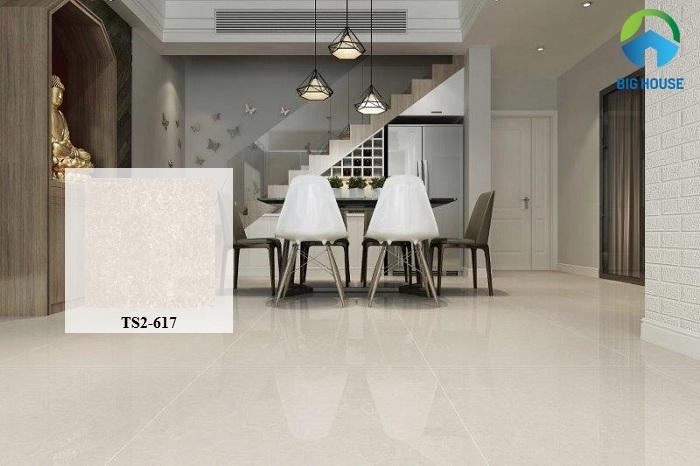 Thiết kế của gạch rất đơn giản, trang nhã với bề mặt men bóng phù hợp với các không gian nội thất