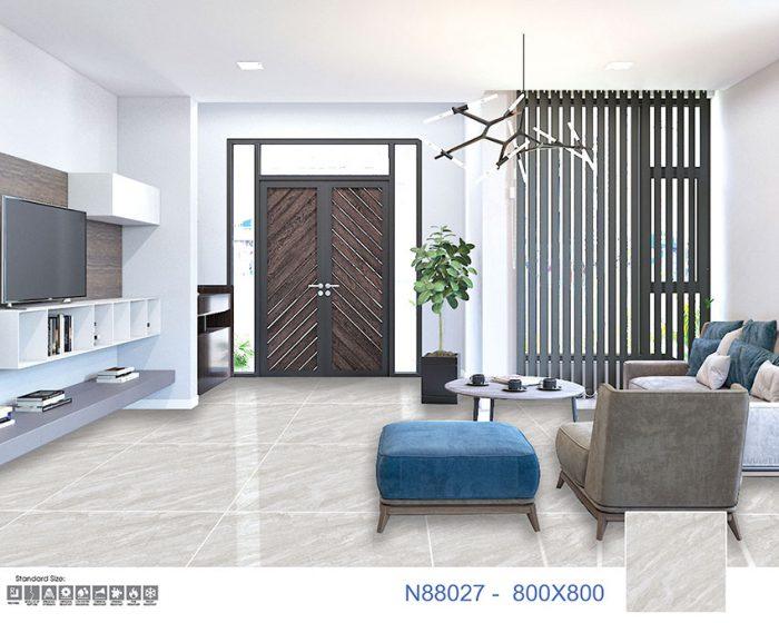 Mẫu gạch lát nền đẹp N88027 của Ý Mỹ có tông màu xám xu hướng 2021